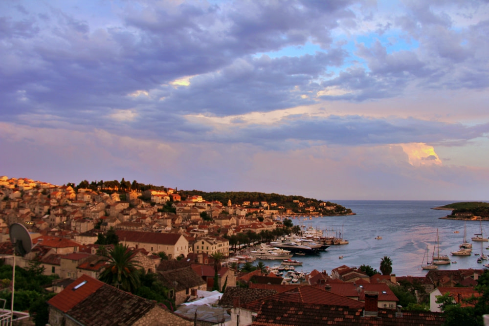 Photograph of Hvar at sunset