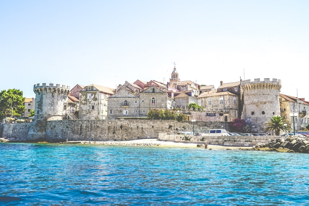 Photograph of a part of the stone wall surrounding Korcula