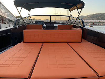 Looking at the sunset from orange Sundeck on yacht Vandutch 32