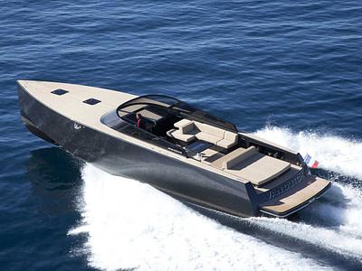 Skipper driving a Vandutch 30.2 speedboat on an elaphite island tour