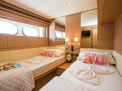 double cabin with two single beds. this boat is based in Dubrovnik, Croatia