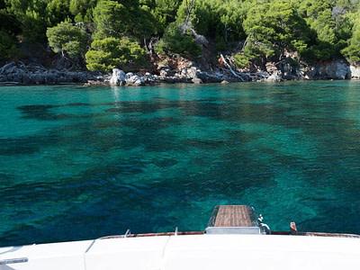 bay on Mljet island with light blue sea colour and sand sea floor