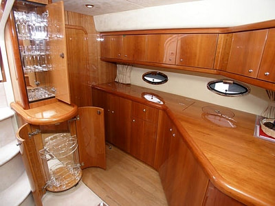 Kitchen and wine cabinets on the sunseeker 50 saloon yacht