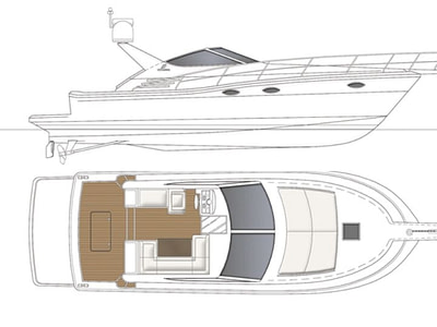 Layout of the Uniesse 42 motor boat, side view and top view