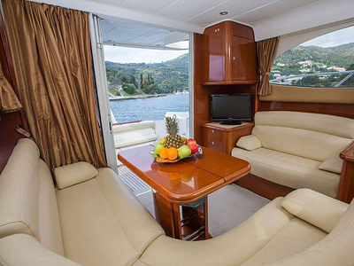 Lounge area on a motor yacht