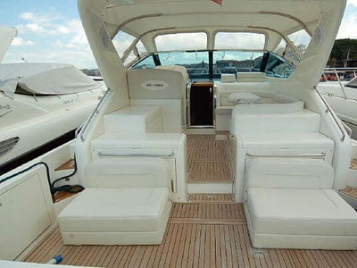 Uniesse 42 yacht cockpit with white cushions