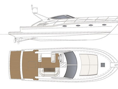 top and side view of floor plan of the uniesse 48 yacht located in Lopud elaphiti island