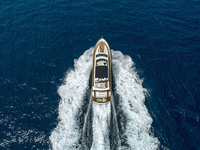 large luxury yacht is gliding through the deep blue sea in Dubrovnik, croatia