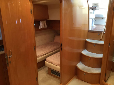 entrance to the saloon on motor yacht in Croatia
