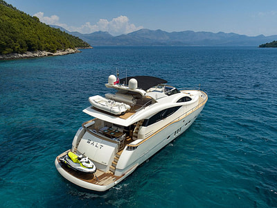 luxury yacht with seadoo jetski on the platform and williams tender available for rent in dubrovnik, croatia