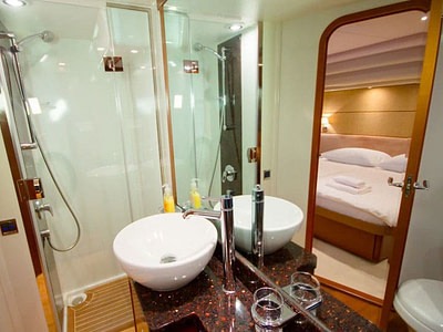 Ensuite bathroom with shower in boat cabin