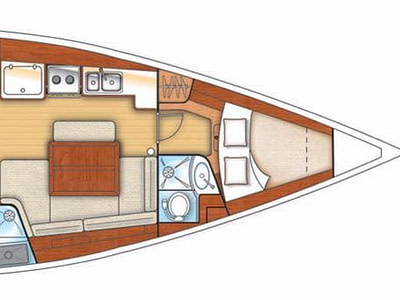 Graphic layout of interior of Oceanis 40 sailing boat