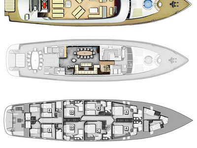 Detailed graphic layout of indoor and outdoor areas of the Navilux sailing yacht