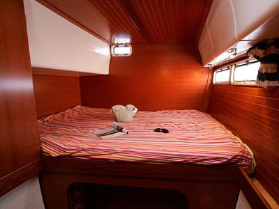 Guest cabin inside a catamaran