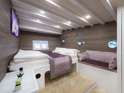 Luxurious double bed cabin onboard a gulet