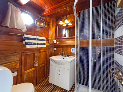 Bathroom with a shower, sink and towels for guests on a ship