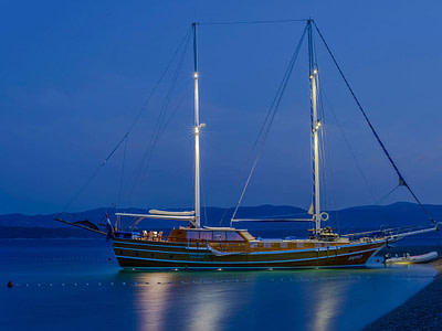 Luxury wooden gulet at sea in the evening