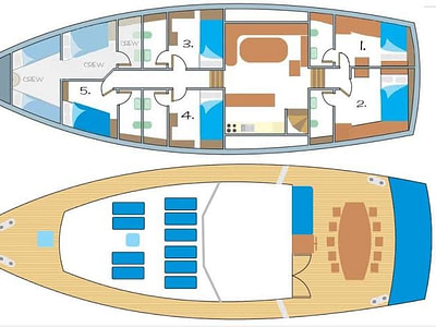 Indoor and outdoor plan layout of a wooden ship gulet