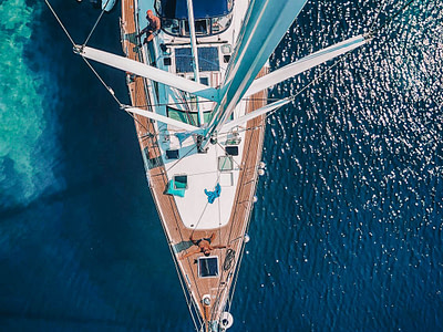 Aerial view of a Sun Odyssey 54 surrounded by blue and turquoise sea