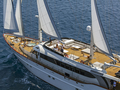 Aerial view of a Navilux yacht sailing the sea