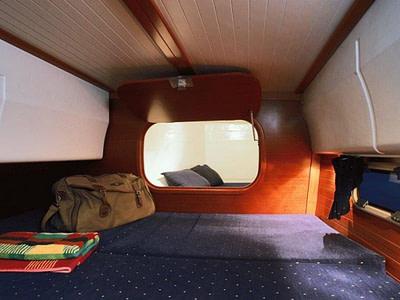Guest cabin inside a catamaran for rent