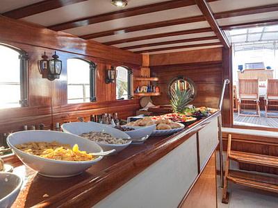 Breakfast buffet set up onboard a gulet ship