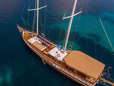 Aerial view of gulet charter kadena