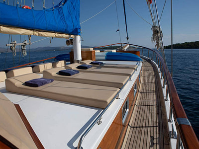 Sun beds at the front of a gulet at sea