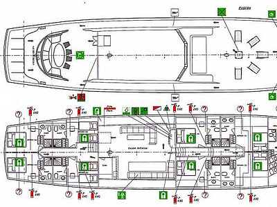 Detailed graphic drawing of the indoor and outdoor layout of a gulet ship