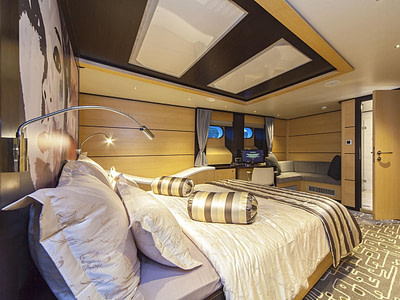 Modern and large guest cabin inside a luxury yacht