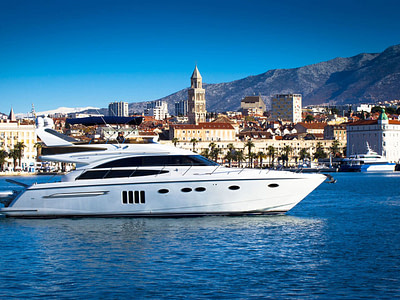 Motor yacht Princess 36 cruising in front of Split Croatia