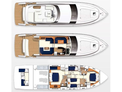 Aerial layout of mega yacht