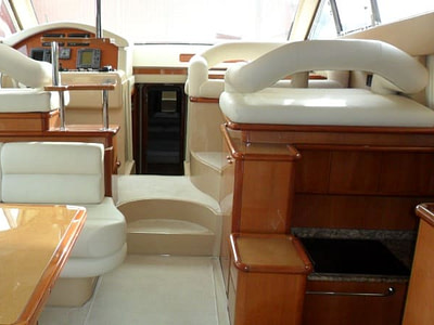 Saloon and cockpit inside of a Ferretti 480