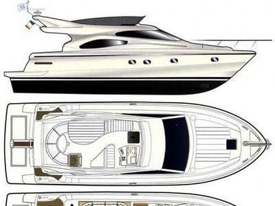 interior and exterior layout of a Ferretti 480 motor yacht