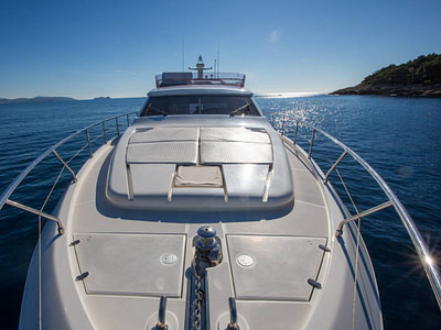 Spacious sundeck and bow of the Ferretti 591 at sea