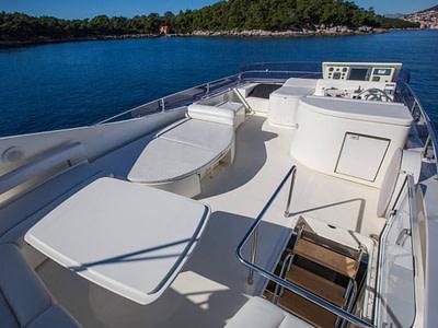 Roof deck exterior of a Ferretti 591 near an island