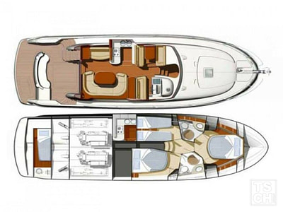 Layout of the interior and exterior of a Prestige 46 motor yacht