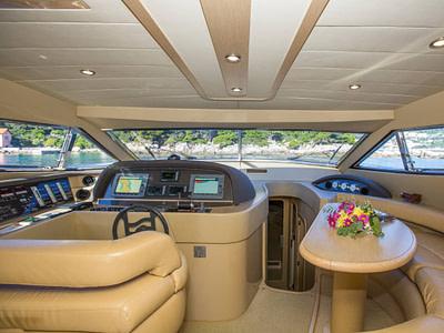 Cockpit interior of a Ferretti 591