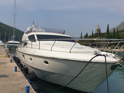 Ferretti 591 yacht docked at the ACI Marina in Dubrovnik