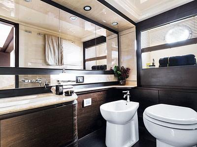 Luxury bathroom details onboard a yacht