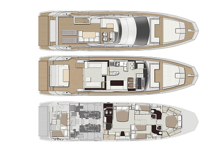 Graphic layout of each floor of a luxury Azimut yacht