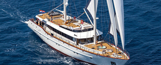 Full view of Navilux sailing yacht at sea