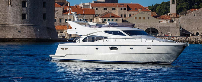 Ferretti 591 motor yacht in front of the Old Town of Dubrovnik Croatia