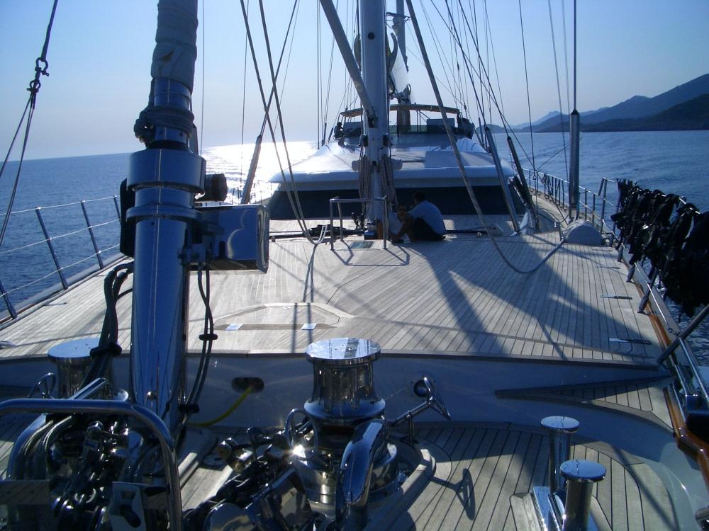 Photograph of a sailboat sailing around Korcula