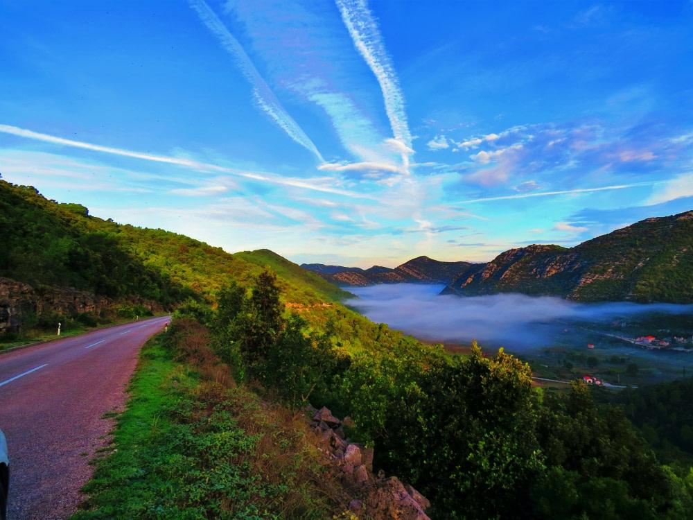 Photograph of a road at Peljesac at dawn