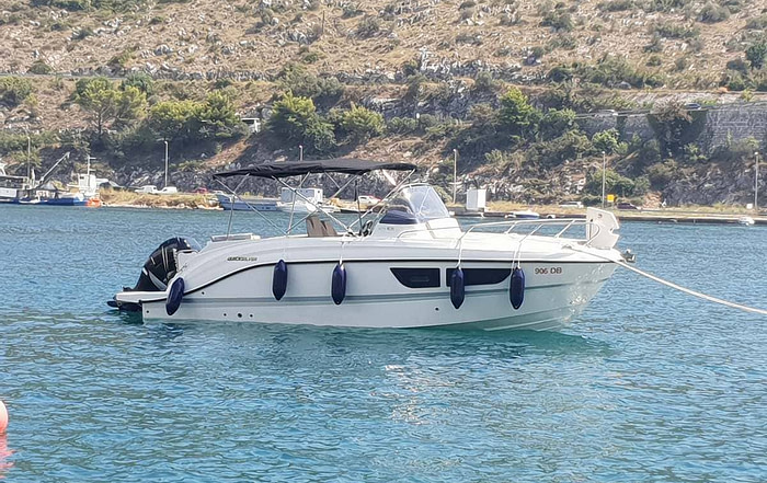 Sideview of a Quicksilver 805 speedboat moored in Dubrovnik