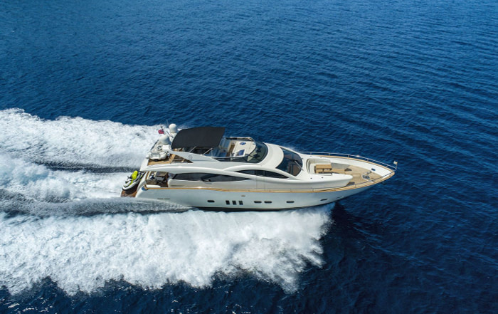 luxury motor yacht Salt rented in Dubrovnik is cruising toward Ston peninsula