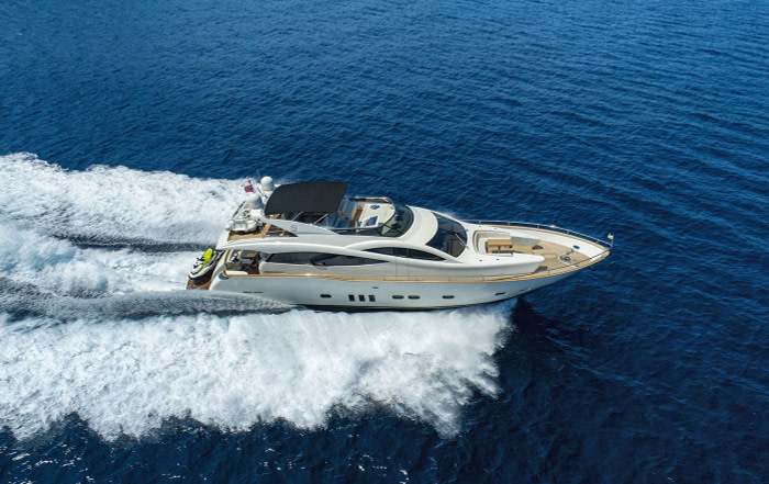 luxury motor yacht Salt rented in Dubrovnik is cruising toward Ston peninsula