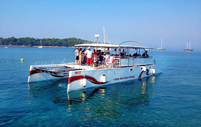 Large group enjoying a sunny day on a sailing trip onboard a pontoon boat in Dubrovnik