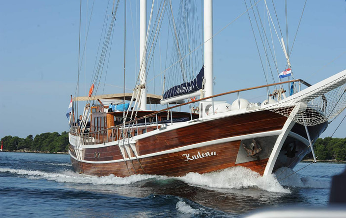 Large wooden gulet sailing the Adriatic sea
